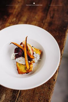 Herbed french toasts with roasted vegetables and feta