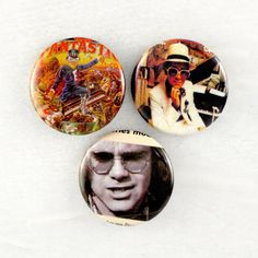 Sir Elton Buttons - Original Paper Ephemera Rock Pins - Music Badges by JeepsterVintage on Etsy