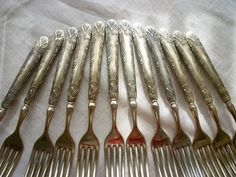 Seneca - Silver over 98-100 fine Stamped on Knives, 12 Forks & Knives~ Vines w/ Flower Bud- Perfect for your Tuscan Picnic, or Porch Dinning by classy10 on Etsy
