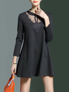 3/4 Sleeve A-line Stand Collar Paneled Pockets Mini Dress