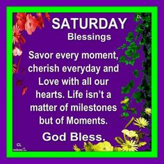Saturday's blessings