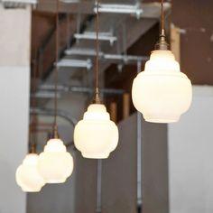 GLASS OPAL STEPPED PENDANT SHADE SMALL – DYKE & DEAN Glass Pendant Shades, Glass Pendant Light, Glass Pendants, Pendant Lamp, Glass Shades, Bathroom Pendant Lighting, Hallway Lighting, Overhead Lighting, Milk Glass Lamp