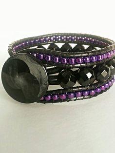 Beaded Leather 3 Row Cuff Bracelet by LilosBracelets on Etsy