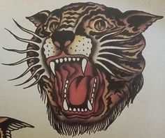 Traditional/old school tattoo, sailor jerry, tiger head