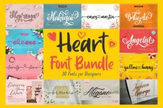 Thank You Font, Romantic Fonts, Feminine Fonts, Heart Font, Commercial Use Fonts, Handwriting Alphabet, Font Packs, Slab Serif, Wedding Fonts
