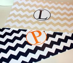 Personalized Chevron Paper Placemats for Autumn Decor  by TIPgifts