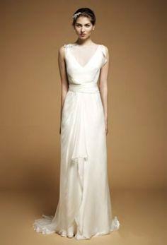 plain and simple :) Simple Floor Length Satin Chiffon Wedding Dress