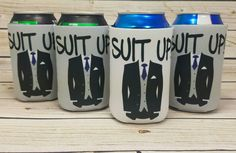 suit up wedding party can coolers / custom wedding party gifts / groomsmen gifts / usher gifts / best man gifts by icecreaMNlove on Etsy https://www.etsy.com/listing/469978054/suit-up-wedding-party-can-coolers-custom