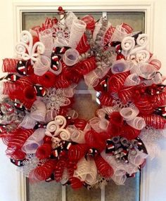 Large 24 Christmas red/white deco mesh curly by TheCornerPaper