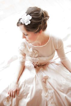 Blush Bridal Gown with Sleeves