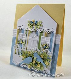 Loving Home by kittie747 - Cards and Paper Crafts at Splitcoaststampers Accessories: Impression Obsession Birdhouse, Bird, Window and Door Dies, MEmory Box Flower Mound Die, Punch Bunch Fern Punch, Martha Stewart Branch Punch and Scalloped Doily Border Punch, Crimper,Stylus, Mat, Glossy Accents, ATG, Mounting Tape
