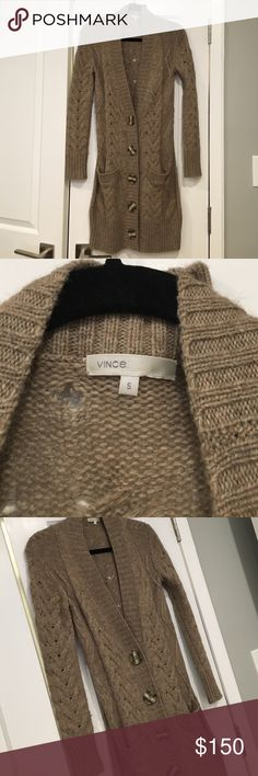 🎉SALE🎉Vince cable knit long sweater jacket Taupe Vince cable knit long sweater cardigan jacket size small Vince Sweaters Cardigans