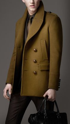 Burberry Felted Wool Pea Coat in Green for Men (military green)