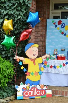 Since Caillou loves being outside and exploring the great outdoors, your backyard is the perfect venue to host a Caillou-themed first birthday. Beautiful greenery and bright blue skies help set the stage for a party to remember. A cardboard Caillou can greet guests and lead them to the party!