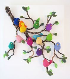 Wool Gathering - needlefelted birds on a lambswool branch with crochet wool leaves