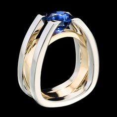 The architecturally inspired ring suspends a dazzling blue sapphire in white gold with yellow gold accent. Forte sapphire ring shows strength and structure. Modern Jewelry, Jewelry Art, Jewelry Design, Designer Jewelry, Sapphire Jewelry, Blue Sapphire Rings, Schmuck Design, Engagement Jewelry, Plaque
