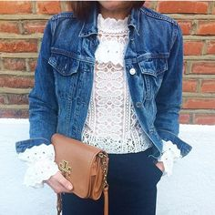 A denim jacket and lace Monsoon top. The perfect Spring combination.