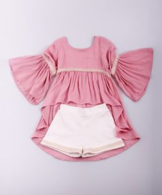 Take a look at this Mia Belle Baby Pink & Crème Hi-Low Top & Shorts - Toddler & Girls on zulily today! Little Girl Fashion, Toddler Fashion, Kids Fashion, Little Girl Dresses, Girls Dresses, Kids Wear, Baby Dress, Kids Outfits, Clothes