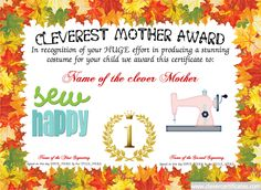 Cleverest Mother Certificate Designer. #Free #halloween templates. You can add text, images, borders & backgrounds. Select images from our library or upload your own for a truly original certificate, #award, #poster or #screensaver. clevercertificates.com #kids #parenting #teachers