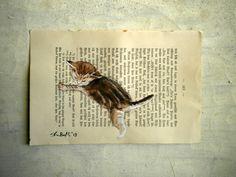 Mr Brownstripes - dipinto originale con acquarelli e tempera sulla pagina di un vecchio libro. €27,00, via Etsy.