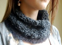 HAND MADE crochet neck warmer: dusty blue/grey by gcincinnati