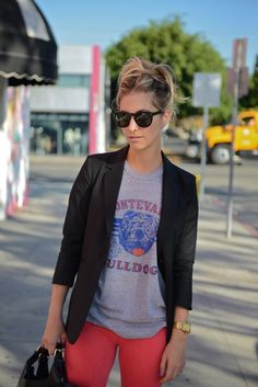 University Tee makes this look casual while the blazer adds an element of sophistication.