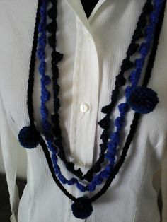 Handmade necklace, Crochet necklace,Crochet jewelry,pompom,Boho necklace,Casual necklace
