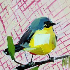 Warbler no. 30 original bird oil painting by Angela Moulton