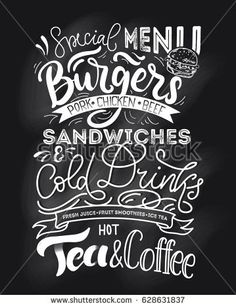 Chalkboard menu for fast food. Hand drawn chalk menu with grunge elements. Cafe restaurant menu with modern lettering.