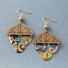 Wood Earrings, Circle Earrings, Dangle Earrings, Etsy Jewelry, Jewelry Crafts, Jewelry Ideas, Jewellery, Recycled Jewelry, Unusual Jewelry