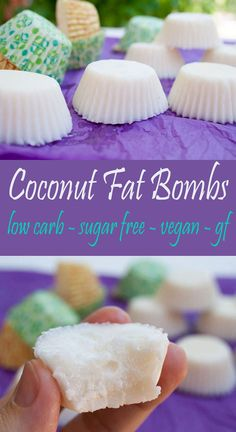Coconut Fat Bombs (vegan, gluten free) - Whether you want to add more coconut oi. Coconut Fat Bombs (vegan, gluten free) - Whether you want to add more coconut oil to your diet, or you are on a vegan keto diet, this recipe is for you! Crossfit Nutrition, Fat Bombs Low Carb, Vegan Keto Diet, Fruit On Keto Diet, Eating Vegan, Keto Diet Plan, Sugar Free Vegan, Dessert Aux Fruits, Coconut Oil Uses
