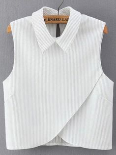 SheIn offers Vertical Striped Wrap White Shirt & more to fit your fashionable needs. White Cotton Shirt Mens, White Shirts, Plaid Shirts, Mode Inspiration, Fashion Outfits, Womens Fashion, Work Fashion, Dress Patterns, Blouse Designs