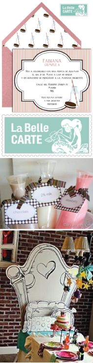 Sleepover invitations, children's birthday party, milk and cookies - Invitaciones fiesta de pijamas - La Belle Carte