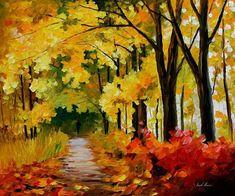 """Fall Park — PALETTE KNIFE Contemporary Landscape Oil Painting On Canvas By Leonid Afremov - Size: 36"""" x 30"""" inches (90 cm x 75 cm)"""