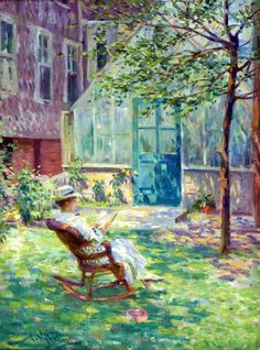 ♥Arvid Nyholm (American artist, 1866–1927) Reading by the Greenhouse