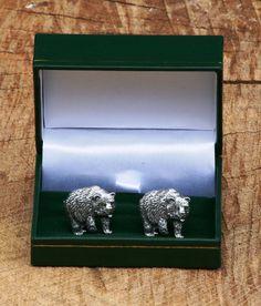 Bear Cufflinks Pewter UK Handmade Nature Gift by GamekeepersGifts