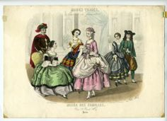 January 1857 plate from 'Modes Vraies, travail en famille,' supplement to magazine 'Musee des Familles. Masquerade Costumes, Masquerade Ball, Victorian Fancy Dress, Fancy Dress Ball, 19th Century Fashion, Edwardian Fashion, Historical Costume, Mode Vintage, Paris