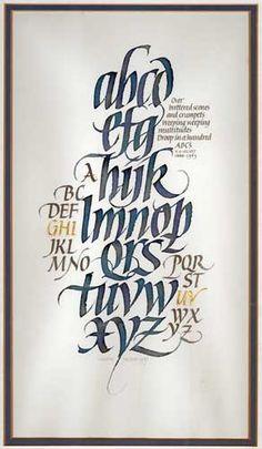 Calligraphy Alphabet by Martin Jackson; 1987; Ink, gold leaf on paper; 33 cm x 18.5 cm