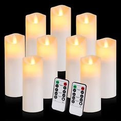 Amazon.com: Flickering Flameless Candles Battery Operated Candles Exquisite Frosted Plastic Candles Outdoor Heat Resistant Include Realistic Moving Wick LED Flames and 10-Key Remote Control with 24-Hour Timer: Home Improvement
