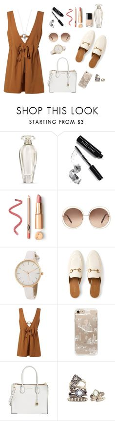 """My summer dress"" by aurora-milanese ❤ liked on Polyvore featuring Victoria's Secret, Bobbi Brown Cosmetics, Chloé, Gucci, Rifle Paper Co, MICHAEL Michael Kors and Marc Jacobs"