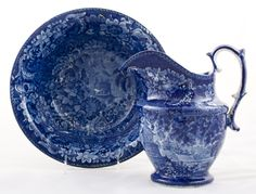 ca 1820-30 Flow blue pitcher and bowl set.