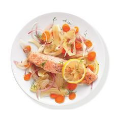Salmon With Fennel and Carrots ❤ liked on Polyvore featuring food, fillers, food and drink and comida