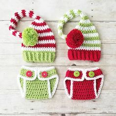 Crochet For Babies Crochet Baby Christmas Striped Stocking Cap Hat Diaper Cover Set Infant Newborn Baby Handmade Photography Photo Prop Baby Shower Gift - Crochet Baby Clothes, Newborn Crochet, Crochet Baby Hats, Crochet Beanie, Crochet Gifts, Crochet For Kids, Baby Knitting, Free Crochet, Crochet Baby Outfits
