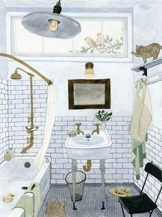 Canadian artist Yuliya's watercolors evoke such a feeling of familiarity and warmness, that I can't help but get lost in each one. I love the somewhat distorted perspective and the complexity in an otherwise simple subject matter. Illustration Main, Illustration Inspiration, Watercolor Illustration, Simple Subject, Watercolor Cat, Bathroom Art, Bathroom Drawing, Bathroom Colors, Shiplap Bathroom
