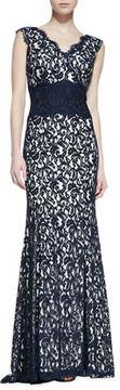 Tadashi Sleeveless Tucked Waist Lace Gown, Navy/Ivory on shopstyle.com