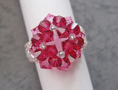 Beaded Ring Pattern -  4 Ruby Flower Ring (RG008) - Beading Jewelry PDF Tutorial (Digital Download)