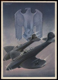 "POSTCARD ""Sturzkampfflugzeugen Luftwaffes"" - Luftwaffe´s dive Bombers, a famous German wartime postcard from ""Die Deutsche Wehrmacht"" series, showing a couple of Heinkel He 112 fighters. Artwork by Gottfried Klein, arguably the most popular postcard artist of the Third Reich era."