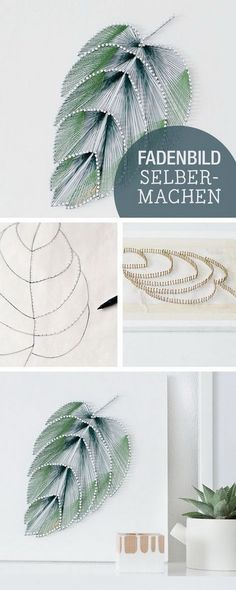 DIY Thread Leaf Wall Art. Wall art doesn't have to be expensive to look good. Create this elegant leaf wall art with thread and nails and add a touch of elegance to your living space.