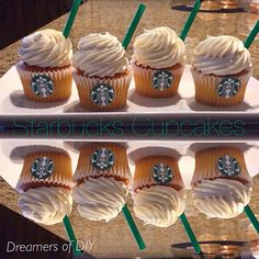 STARBUCKS THEME CUPCAKES! This cupcake decoration is great for anything event. You can either make your own cupcakes or even buy plain ones from the store. Print out the logo and either go to Starbucks for the green straws or buy ones at the store!