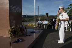 GUADALCANAL,Solomon Islands(Aug.7,2013)Capt. Wallace Lovely, mission commander Pacific Partnership 2013,salutes prior to laying a wreath during commemoration of 71st anniversary of Battle of Guadalcanal.Working at invitation of each host nation,USN forces joined by NGOs 1 regional partners including Australia,Canada,Colombia,France,Japan,Malaysia,Singapore,S Korea 1 New Zealand to improve security, conduct humanitarian aid & strengthen disaster-response (USN Chief Mass Comm Spec Chris…